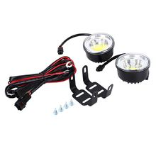 2Pcs COB Round Daytime Driving Running Light DRL Car Fog Lamp Head Light white Fit For SUVs/Trucks