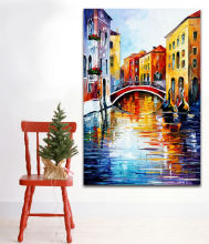 Italy European Cities Architecture Palette Knife Painting Modern Art Picture Printed On Canvas For Home Office Wall Decor