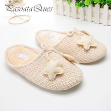 Cute Star Warm Winter Women Home Slippers For Indoor Bedroom House Soft Bottom Shoes Girls Ladies Room Pink Flats Christmas Gift(China)