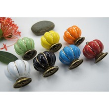 1pcs Vintage Pumpkin Ceramic Door Knobs Cabinet Drawer Cupboard Kitchen Pull H7