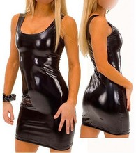 Free Shipping Women Black Sexy Leather Dresses Latex Club Wear Costumes Clothing PVC Dress Catsuits Cat Suits 4XL 5XL