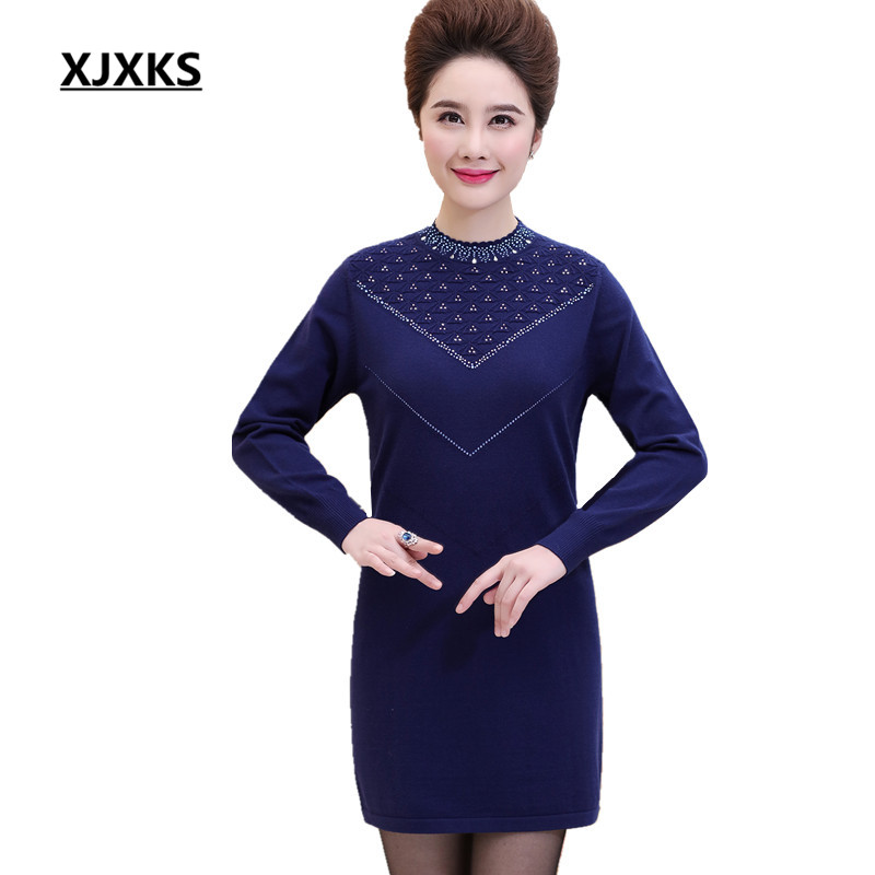 XJXKS Women's Autumn And Winter Female Tops Plus Size 3XL Beading Wool Knitted Mother Clothing Casual Sweaters