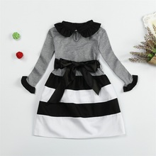 Winter Autumn Baby Girl Casual Dress Brand Girl Clothes Kids Party Wear Stripe Baby Girls Dresses Children Clothing 3 To 8 Years