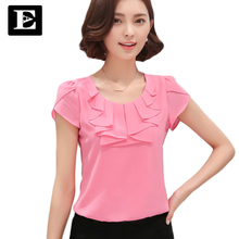 EveingAsky Office Women Shirts Blouses White Pink Purple Elegant Ladies Chiffon Blouse Short Sleeve Womens Tops Chemise Femme(China)