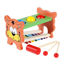 Cartoon Tiger Knock Piano Toy Wooden 8 Sounds Knock Tables Toy Muscical Instruments Child Early Childhood Educational Music Toys