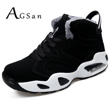 AGSan men boots couple men's winter warm snow boots mens fur plush high top ankle boots sneakers work shoes men botas lace