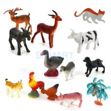 New Arrivals 2015 Plastic PVC Farm Animal Tree Model Set Kids Toy 15pcs Multi-color Free Shipping