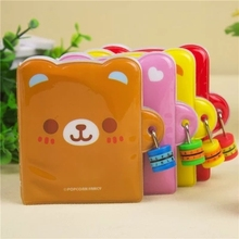 1 pcs Korean Cute Mini Diary Book with Lock Bear Notebook Journal Diary Combination Lock wholesale 10*8cm for Kid School 01621