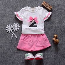 Baby Girls clothing set 2017 new summer O-neck Short Cotton for 1 2 3 years old fashion style baby girl clothes A018