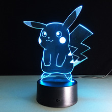 Touch the Light LED  Pikachu 2016 Birthday Party Atmosphere Decoration Figurines Table Lamp Toys 3d Led Christmas