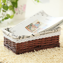 2017 NEW PRODUCTS Bamboo Weaving Storage Basket Fruit Rattan Storage Box For Cosmetics tea picnic basket organizer Handiwork(China)