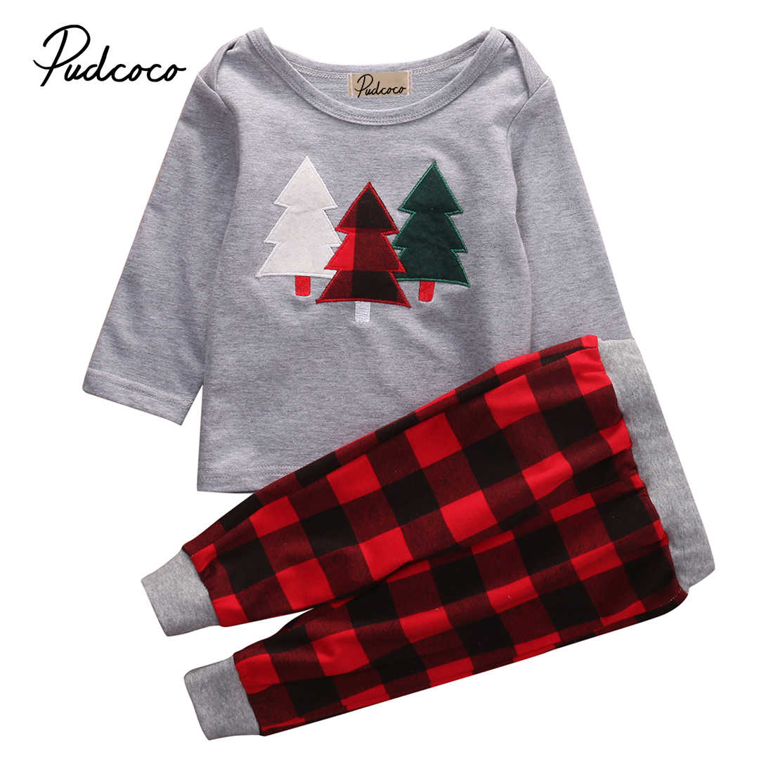 d84f7a4e7 Christmas Oufits Baby Girl Boy xmas tree print T shirt + plaid pants 2Pcs  autumn winter