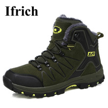 Ifrich Army Green Mens Athletic Shoes Winter Warm Men Hiking Shoes With Fur Hiking Men Boots High Top Boots Outdoor Men