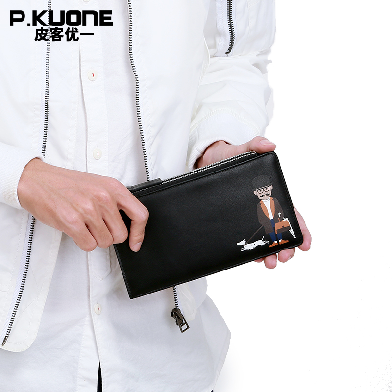 P.KUONE Brand 100% Genuine Leather Men Long Credit Card Holder Fashion Pattern Leather Zipper Bill holder Leather Wallet<br>
