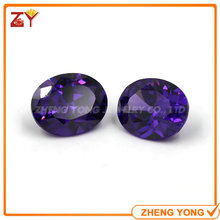 High Quality 7x9mm Oval Cut Cubic Zirconia Purple Synthetic Gemstone Beads