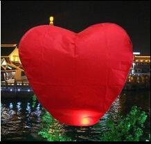 10-Pack Red Heart sky Lanterns Chinese Paper  Candle Fire Balloons for Wedding Party decoration