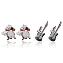 Fashion French Shirt Cufflinks for Men Silver Rock Punk Drums Guitar Cuff Buttons Casual Cufflinks for Wedding Party Pub Show