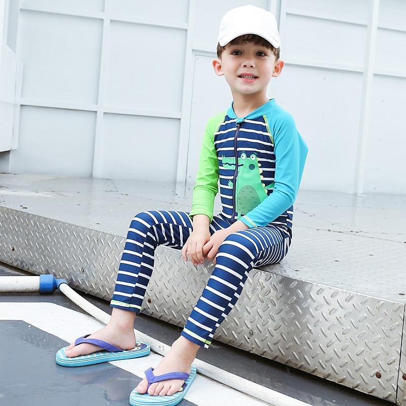 Toddler Baby Boy Dinosaur Swimsuit Rash Guard Bathing Suit One Piece Sunsuit Swimwear+Sun Hat