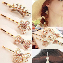 Womens Hairpin Flower Simulated Pearl Heart Barrette Lady Crystal Rhinestone Hair Clip Chic Golden Accessories