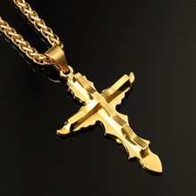Hip Hop Rapper High Quality Cross Pendant Necklace Men  Real Yellow Gold Filled Chain Male Jewelry