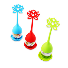 Silicone Oriental Flavor Loose Leaf Herb Strainer Cute Designed Lotus Shaped Stainless Steel Tea Infuser Candy Color(China)