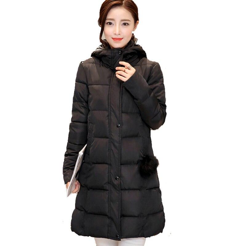 Solid color hooded women winter jacket stand collar long cotton outerwear for women coat parka womens casaco feminina inverno Îäåæäà è àêñåññóàðû<br><br>