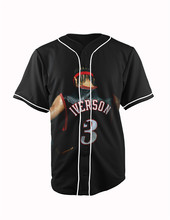 Real American Size allen iverson#3  3D Sublimation Print Custom made Button up baseball jersey plus size