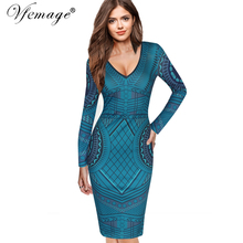 Vfemage Womens Sexy V Neck Geometric Print Long Sleeve Slim High Waist Chic Casual Party Cocktail Club Bodycon Sheath Dress 4748(China)