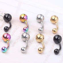 1pcs Titanium Anodized Nave Belly Button Rings Piercing Navel Bars Surgical Steel Free Shipping Body Jewelry(China)