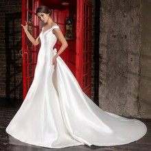 Luxury Mermaid Pearls Crystal Lace Detachable Train Wedding Dresses 2017 Long Church Satin Bridal Gowns robe de mariage