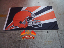 Free shipping NFL 3'x5' Cleveland Browns flag, 90x150cm Cleveland Browns rugby football banners(China)