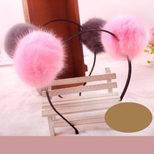 Cute Women Girls 6cm Soft Furry Pom Pom Ball Headbands Hair Accessories Headwear Daughter Sweet Gift