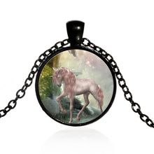MJARTORIA Unicorn Pendant Necklace Glass Cameo Time Gem Cabochon Vintage Fashion Clavicle Sweater Chain For Women