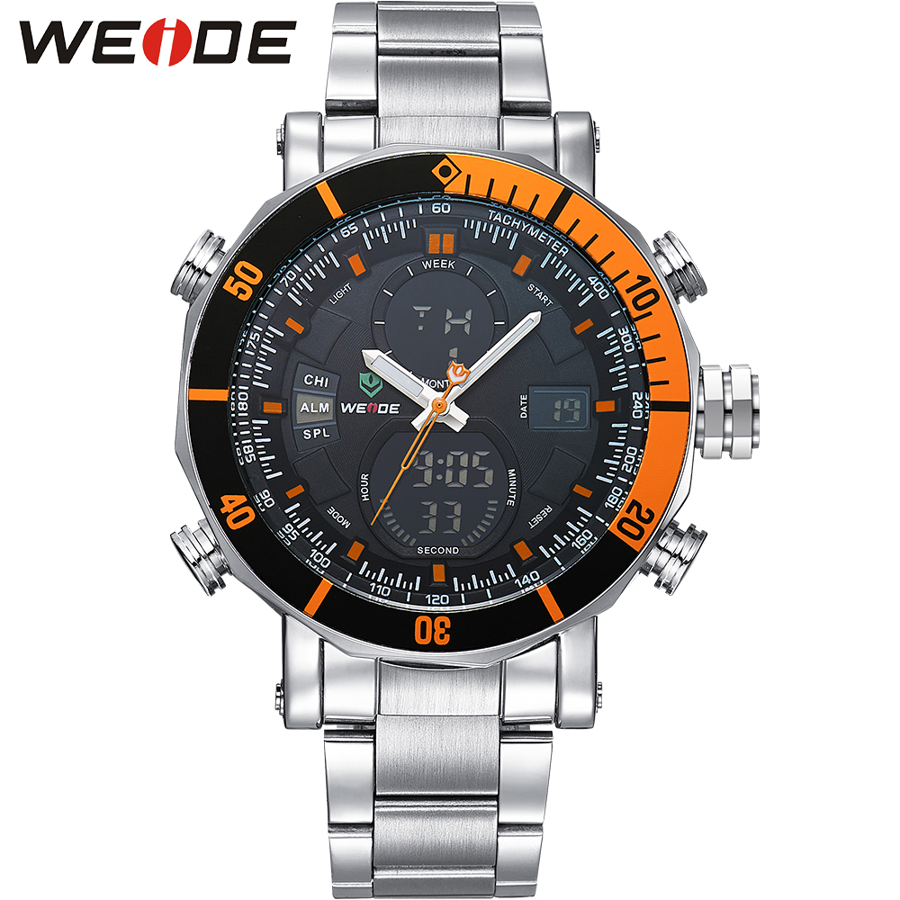 WEIDE Stainless Steel Band Round Case Analog Digital LCD Display Date Day Alarm Black Orange Men Sport Quartz Wrist Watch<br>