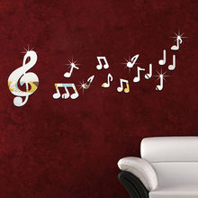 Mirror Wall Stickers Acrylic Music Symbol Shape Wall Sticker Bedroom Study Room Living Room DIY Decorative Wall Stickers(China)