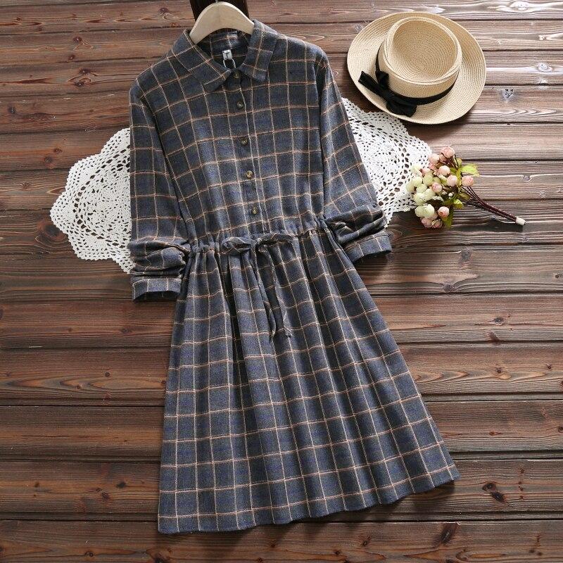 6 Colors Mori Girl Autumn Winter Women Cute Dress Vintage Plaid Cotton Lace Up Casual Loose Vestidos Mujer Elegant Preppy Dress