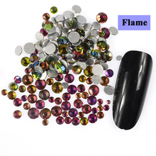 500pcs/back Mix Size Flame Rainbow Colorful Crystal Designs Rhinestones for 3D Nail Art Decorations Flatback Glass Glitter TR314