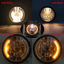 Motorcycle Custom Amber LED Turn Signal Lamp Hi/Low Halogen Headlight  Fits For CG125 GN125 CG200 Cafe Racer Bobber