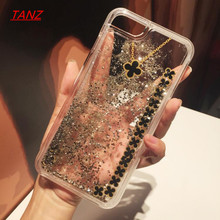 TANZ Clover Liquid Glitter meteor sand sequin Dynamic Hard Shell+soft silicone Mobile Phone cases For iphone 6 6S plus 7 7plus