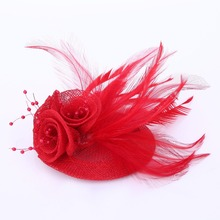 2017 Women blue feather hair accessories fascinators nice rhinestone decoration ladies wedding party Corsage Brooch 5colors