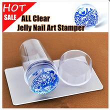 1Set Clear Jelly Nail Art Stamper Transparent Lidded Seal Handle Clear Silicone Nail Stamper & Scraper Stamp Tools(China)