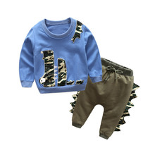 Casual Animal baby clothing suit embroidery cartoon crocodile New design Baby boy's Sports Set Cotton long sleeve kids clothes(China)