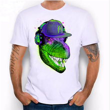 Novelty Jurassic DJ design thunder dino green print T-shirt men's short sleeve casual white boy Tops summer hipster cool Tees(China)