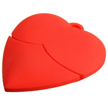 Wholesale Portable Capacity Red Heart Shape 32GB USB 2.0 Flash Pen Drive Memory Stick Pendrive Storage Cartoon(China)