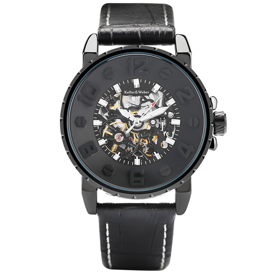 Luxury Automatic Mechanical Watch Men Scratch Proof Dial Business Genuine Leather Band Black Clock Male Gift Creative reloj <br>