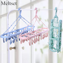Folding Children Kids Clothes Hanger Drying Rack With 20 Clothespins Travel Portable Towel Underwear Socks Hanger Clip(China)