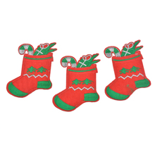 FUNIQUE 10Pcs/Set Stocking Patches Iron On Embroidered Motif Applique DIY Sewing Accessories For Clothing Christmas Decoration