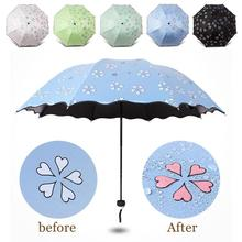 Folding Color Changing Magic Umbrella Flowering women Protection Folding UV-Protection men rain Sun Umbrella cute parasol  H3