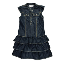 Baby Girls Stylish Denim Dress Kids Tutu Layered Dress Ruffled Sleeveless Summer Sundress Vintage Children Vestido Button Pocket(China)