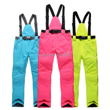 Free Shipping Windproof waterproof Outdoor Men And Women Genuine Warmth Strap Ski Snowboard Pants 5 Color Size XS-XXL